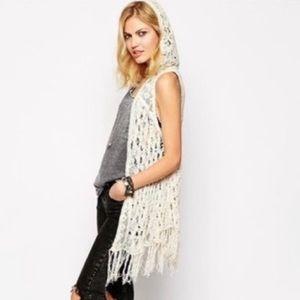 Free People Cream Crochet Hooded Fringe Hem Vest